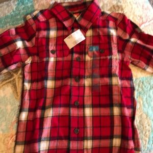 Kids red lumberjack print shirt